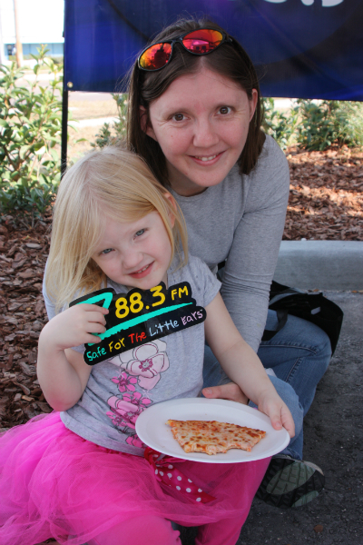 Amber and her mom stopped by to get a new Z88.3 sticker and a slice of pizza.