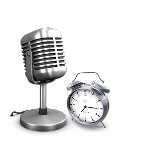 Old fashioned microphone and clock with alarm bells on top